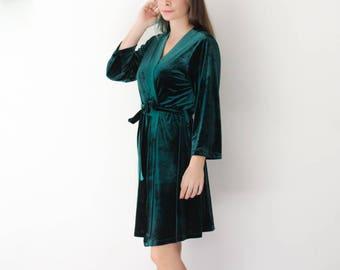 Bridesmaid Robes, Velvet Robes, Floral Robe, Bridesmaid gift, Green Robe, Bridal Robe, Kimono Robe, Bride Robe, Bridesmaid Robe Set
