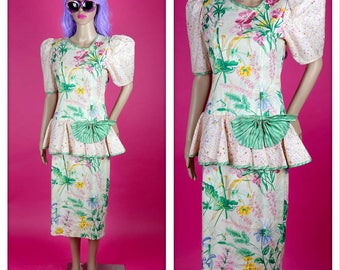 Vintage 1980s Pastel Floral Dress with Big Bow and Sleeves