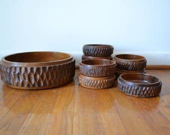 Mid Century Carved Wood Salad / Nut Bowl Set