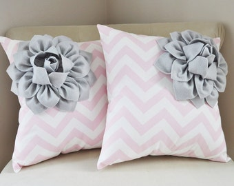Pink and Gray home decor, Grey Corner Dahlia Flower on Light Pink Chevron 14 x 14 Pillow Set, Bella Pink Nursery, Dahlia Home Decor, Baby