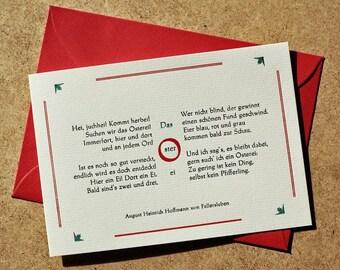 Klappkarte »Das Osterei« (Hoffmann von Fallersleben), Buchdruck, Bleisatz auf Conqueror-Karton mit Kuvert