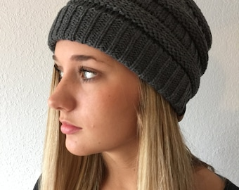 Gray Color Knit Beanie Hat