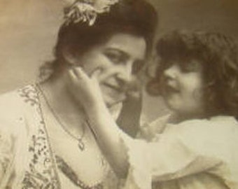 SALE Vintage RPPC of Mother and Daughter