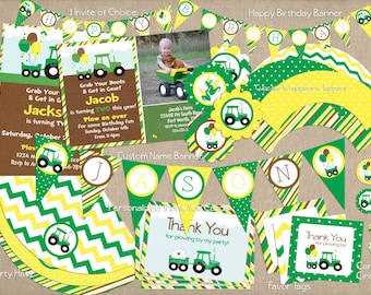 Tractor Birthday Party PACK - Printable Invitations, Banner, Thank You's and More