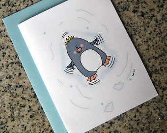 adorable penguin making a snow angel holiday christmas cards (blank or custom printed inside) with blue envelopes - set of 10