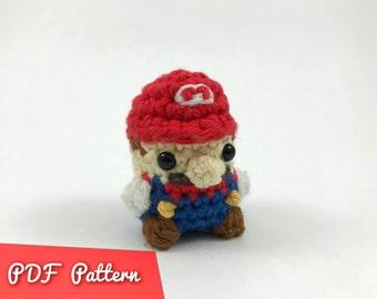 PDF Pattern for Crocheted Mario from Super Mario Bros Amigurumi Kawaii Keychain Miniature Doll Plush
