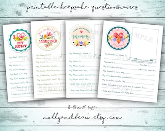Mother's Day Printable Gift Pack, Cute All About Mommy, Grandma, Aunt and Godmother Questionnaires for kids, Cute Mother's Day Gift from Kid