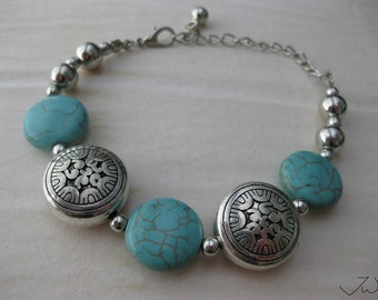 Turquoise Tibetan Silver bracelet With Silver Beads