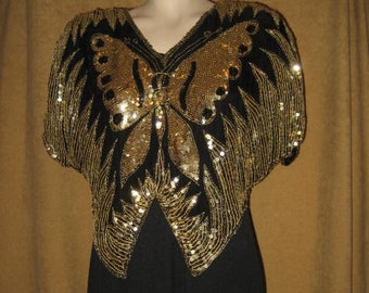 Butterfly Sequin Blouse Black Gold Silk S - M 70s 80s Vintage
