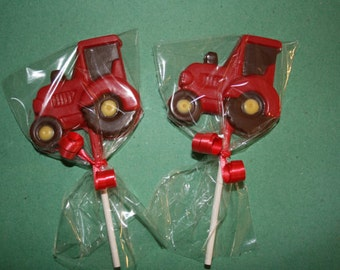 20 Chocolate TRACTOR Lollipop Party Favors