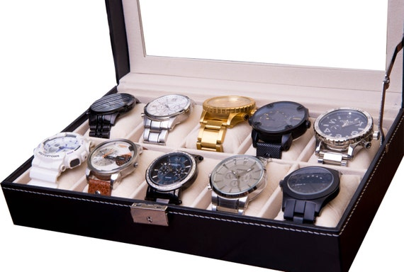 Large Slot Watch Box Watch Case Watch Display Watch Organizer