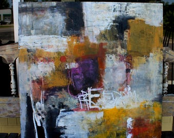 Large Abstract  painting in warm colors Oil and Cold Wax  Freedom contemporary art 30 x 30   by Jodi Ohl