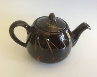 Vintage Teapot, Vintage Red Clay Teapot, Brown Glazed Teapot, Hand Painted Teapot, Clover Stamp.