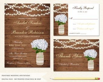 Mason Jar Wedding Invitation. Printable Invitation. Rustic Wedding Invitation. Floral Hydrangea Invitation. String Lights. Rustic Invitation
