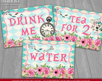 Alice in Wonderland Party Signs - INSTANT DOWNLOAD - Mad Hatter Tea Party Decorations - Drink me Sign - Tea for 2 Sign - Water Sign