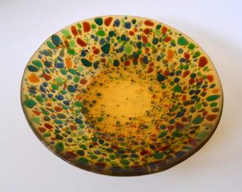 Amber Fused Glass Bowl, Fused Glass Bowl, Fused Glass Dish