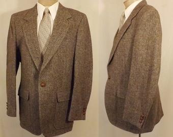Vintage 70's Palm Beach Hunter Haig Gray Wool Sport Coat Size 38