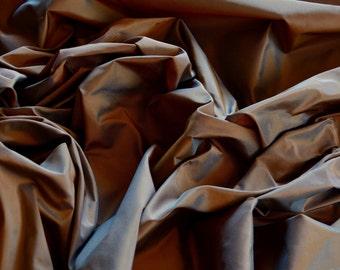 "Brown/Blue Iridescent Silk Taffeta 100% Silk Fabric, 54"" Wide, By The Yard (TS-7053)"