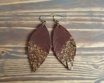 Brown Boho Earrings. Leather Feather Earrings. Bohemian Earrings. Long Boho Earrings. Leather Leaf Earrings. Bohemian Leather Jewelry.