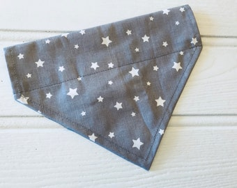 Handmade Dog Collar Bandana by Sew Poochie - 100% cotton Grey with White Stars