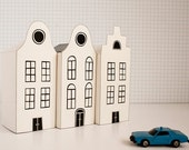 DIY pack - 3 paper houses - black & white