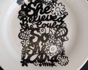 Hand painted She Believed side plate