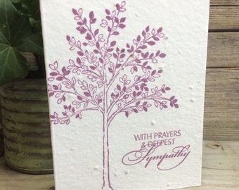 Plantable Sympathy Card. Condolences. Seeded paper. Cards that bloom. Hand-stamped. Tree. Eco-friendly. In memory. Deepest Sympathy.