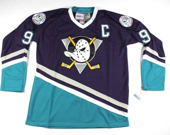 90s Deadstock Anaheim Mighty Ducks Hockey Jersey, Vintage Paul Kariya Hockey Jersey, Vintage Mighty Ducks Jersey, Vintage Jersey Purple