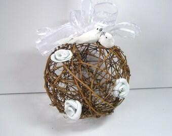 Wedding  Pomander -Flower Pomander - Kissing Ball - White Leather Rose Rustic Pomander - Year Round