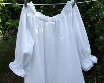 Ready now!  White Flannel Prairie Nightgown 3X-5X Womens Plus Size Eyelet Lace
