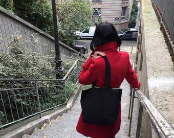 Handbag Tote Black Suede effect