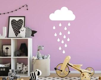 Rain Cloud Decal, Cloud Decal, Rain Sticker, Kid Wall Decoration, Baby Room Decal, Nursery Wall Decal, Vinyl Sticker, Raindrop Decal