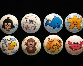 """BABY ANIMALS (Land and Sea) ---- Set of 8 - 1  1/2"""" Hand Painted Wooden  Knobs"""