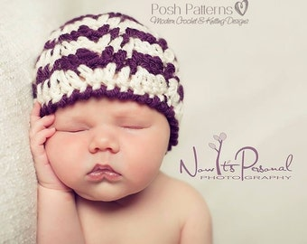 CROCHET PATTERN - Crochet Baby Hat Pattern, Ripple Crochet Pattern, Crochet Pattern Baby (Newborn to Adult Sizes) - Instant PDF Download 213
