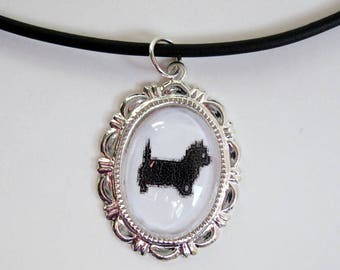West Highland White Terrier, Cameo Necklace, Pet Loss Gifts, Cabochon, Pendant, Cameo, Illustration, Necklace, Victorian, Black, Westie