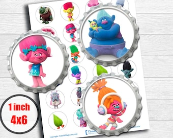 "Trolls 2016 Dreamworks Digital Collage Sheet 1"" inch 25mm Bottlecap Printable Image Download for pendants magnets cupcake topper"