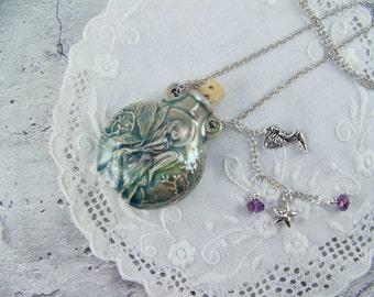 Fairy Necklace, Bottle Necklace, Fairy Bottle, Raku Necklace, Ceramic Bottle, Essence Bottle, Vessel Necklace, Perfume Necklace, Fairy Charm
