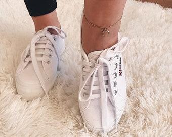 Delicate Gold Anklet|Double Horn Gold Anklet|Double Horn Anklet|Simple Gold Anklet|Dainty Gold Anklet|Minimalist Bracelet|Delicate Bracelet|