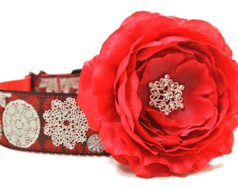 Dog Collar Flower Add-on Red Christmas Flower with Snowflake Center Collar Not Included