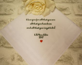 Groom Wedding Handkerchief, Personalised Embroidered Wedding Handkerchief, Wedding Hanky, I love you for all that you are