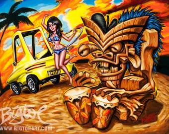 BigToe's Bongo Beach limited edition archival art print