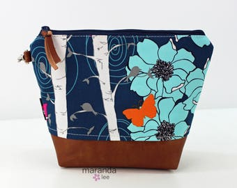 AVA Medium Clutch - Floral Aspen with PU Leather READY to SHIp Cosmetic bag Travel Make Up Zipper Pouch