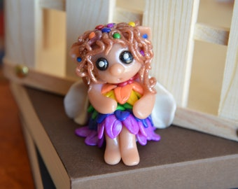 Hand Crafted Rainbow Faerie - Polymer Clay Sculpture