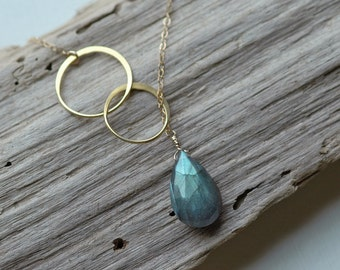 Gemstone Necklace, Labradorite Pendant Necklace, Lariat Eternity Necklace, Gold Y Necklace, Bridal Necklace • Silver Lariat • Gift for Her
