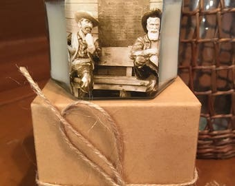 """No. 18 """"Cowboy"""" 4 oz. Hexagon Candle: Handpoured, Handmade Soy Candle With Custom Photo By Brian McCullah (Mocha Latte Scent)"""
