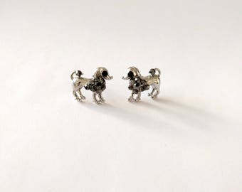 Vintage Poodle earrings silver tone studs Marcasite gray black rhinestones novelty dog jewelry