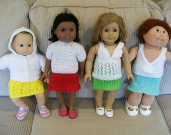 23) Knit Skirts Hand Made Doll Clothes Dolls Toys ANY 15-18 Inch Doll Skirts Patterns Mini Mid Knee Length American Girl Cabbage Patch Bitty