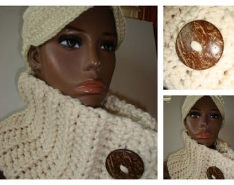 Cowl Scarf Crocheted - Neckwarmer - Scarf- Cowl- matching hat- MultiScarf - Cream