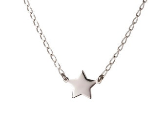 Tiny silver star necklace, Delicate necklace, Silver necklace, Simple silver necklace, Tiny sterling silver star necklace