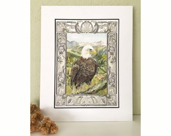 A noble bald eagle painting on watercolor paper. Whimsical original painting perfect for a wildife lover and story enthusiast.